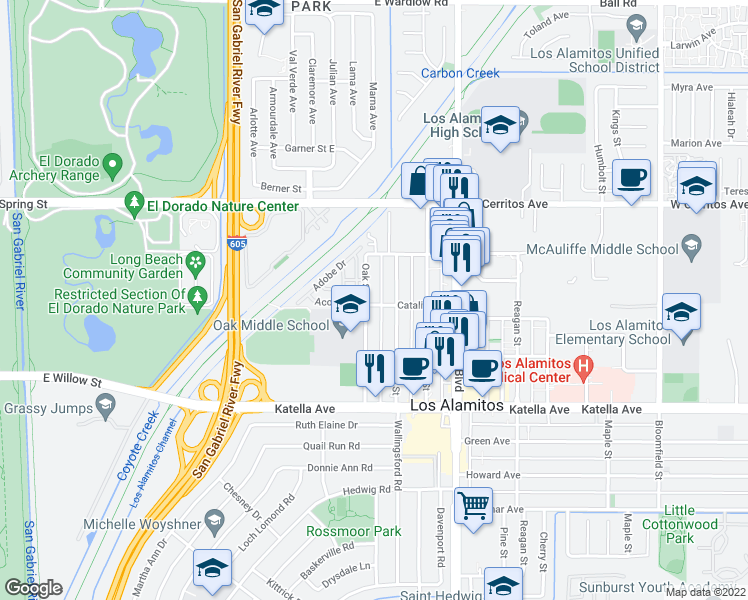map of restaurants, bars, coffee shops, grocery stores, and more near 10726 Oak Street in Los Alamitos