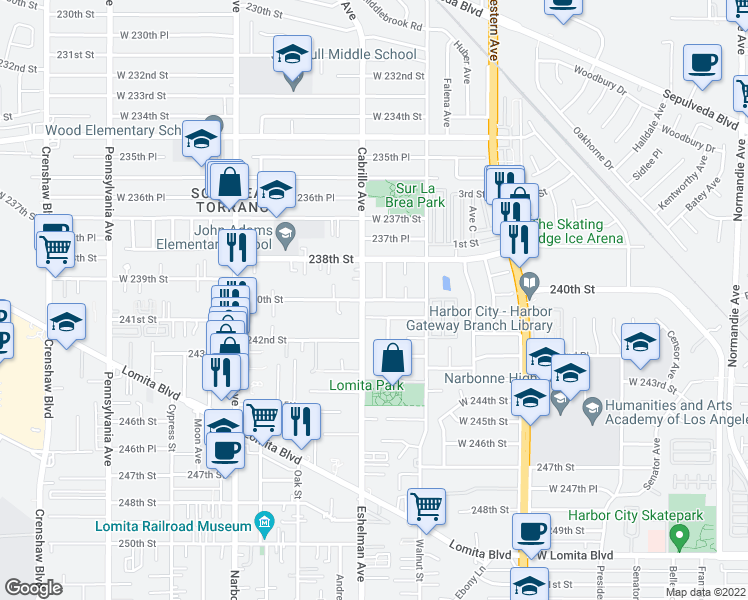 map of restaurants, bars, coffee shops, grocery stores, and more near 240th St in Lomita
