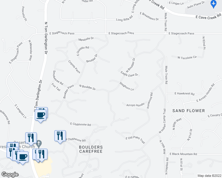 map of restaurants, bars, coffee shops, grocery stores, and more near 1031 North Boulder Drive in Scottsdale