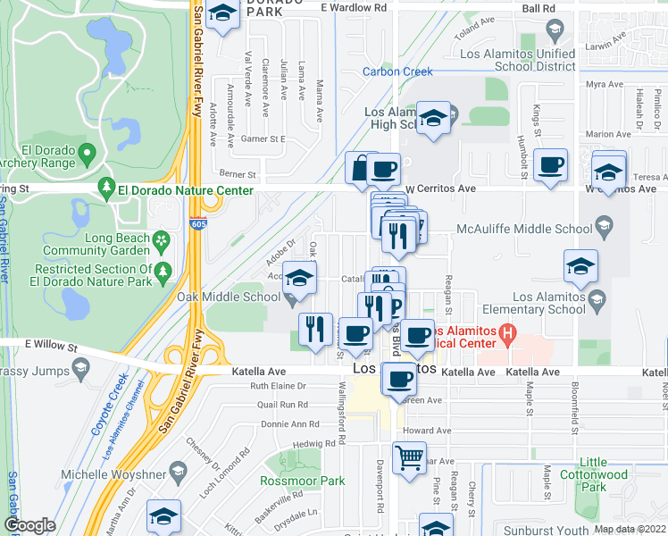 map of restaurants, bars, coffee shops, grocery stores, and more near 10703 Walnut Street in Los Alamitos