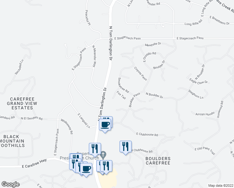 map of restaurants, bars, coffee shops, grocery stores, and more near 2205 East Sagebrush Circle in Carefree