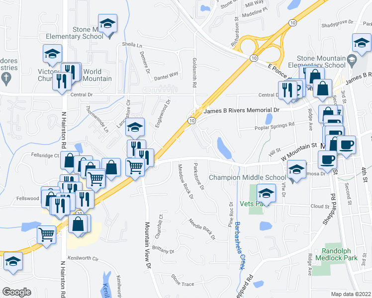 map of restaurants, bars, coffee shops, grocery stores, and more near 5030 West Mountain Street in Stone Mountain