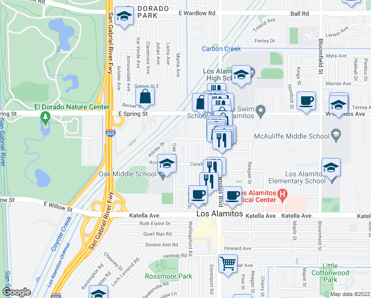 map of restaurants, bars, coffee shops, grocery stores, and more near 10661 Walnut Street in Los Alamitos