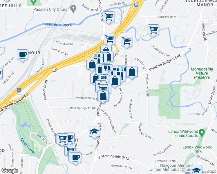 map of restaurants, bars, coffee shops, grocery stores, and more near 1797 Piedmont Road Northeast in Atlanta