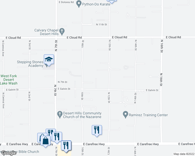 map of restaurants, bars, coffee shops, grocery stores, and more near 35513 North 11th Street in Phoenix