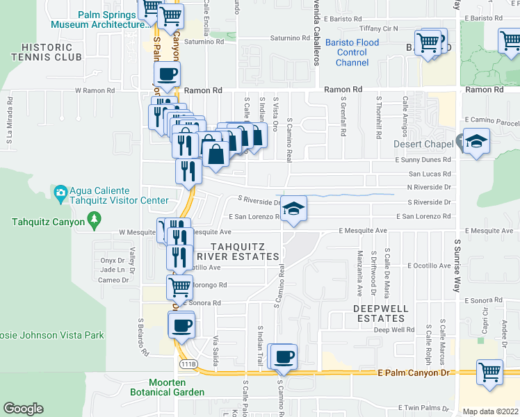 map of restaurants, bars, coffee shops, grocery stores, and more near 747 South Riverside Drive in Palm Springs