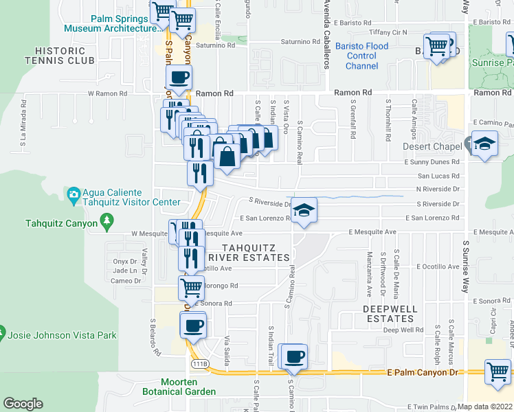 map of restaurants, bars, coffee shops, grocery stores, and more near 671 South Riverside Drive in Palm Springs