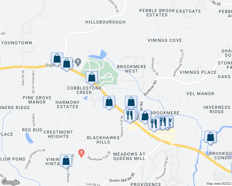 map of restaurants, bars, coffee shops, grocery stores, and more near 5926 High Hampton Lane in Mableton