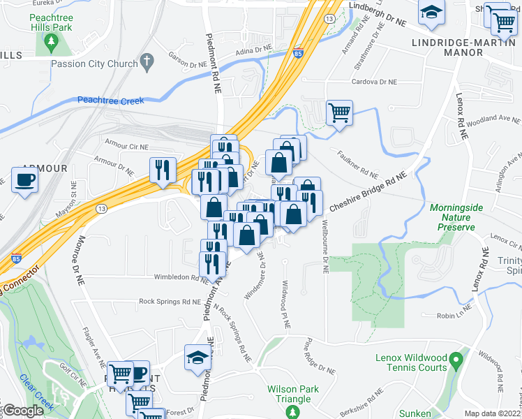 map of restaurants, bars, coffee shops, grocery stores, and more near 2025 Rockledge Road Northeast in Atlanta