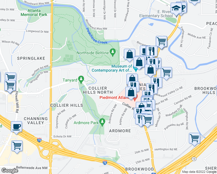 map of restaurants, bars, coffee shops, grocery stores, and more near 349 Redland Road Northwest in Atlanta