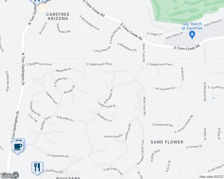 map of restaurants, bars, coffee shops, grocery stores, and more near 1012 North Boulder Drive in Scottsdale