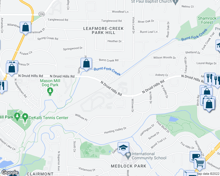 map of restaurants, bars, coffee shops, grocery stores, and more near 3412-3420 North Druid Hills Road Northeast in Decatur