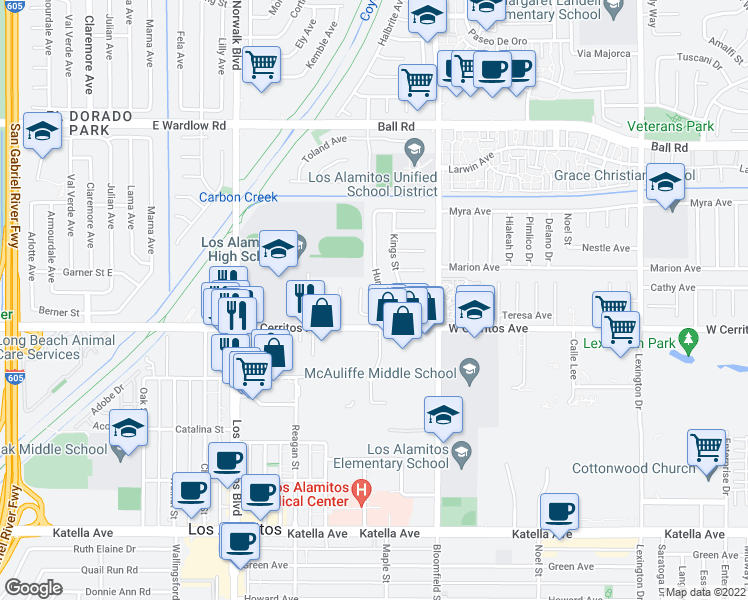 map of restaurants, bars, coffee shops, grocery stores, and more near 10351 Humbolt Street in Los Alamitos