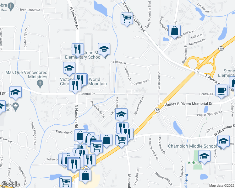 map of restaurants, bars, coffee shops, grocery stores, and more near 4941 Central Drive in Stone Mountain
