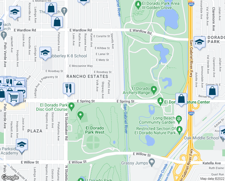 map of restaurants, bars, coffee shops, grocery stores, and more near 3033 Stevely Avenue in Long Beach