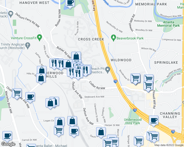 map of restaurants, bars, coffee shops, grocery stores, and more near 1185 Collier Road Northwest in Atlanta