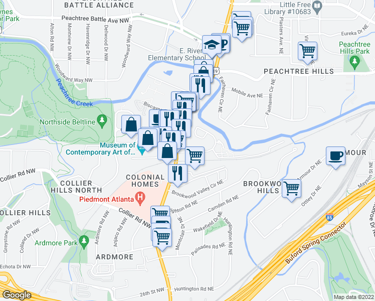 map of restaurants, bars, coffee shops, grocery stores, and more near 1000 Peachtree Park Drive Northeast in Atlanta