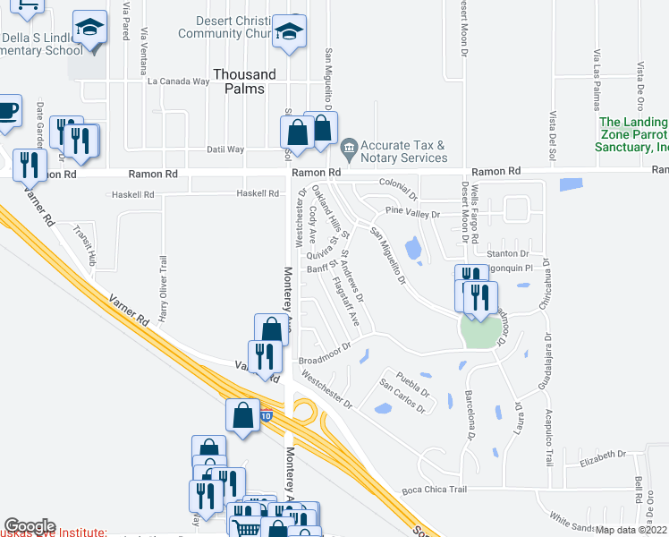 map of restaurants, bars, coffee shops, grocery stores, and more near 32500 Flagstaff Avenue in Thousand Palms