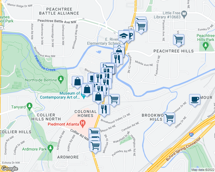 map of restaurants, bars, coffee shops, grocery stores, and more near 2161 Peachtree Road in Atlanta