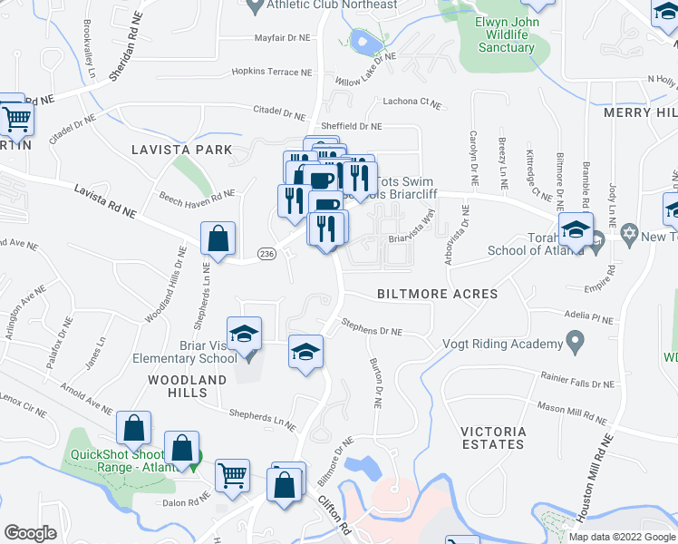 map of restaurants, bars, coffee shops, grocery stores, and more near Briarcliff Road Northeast & Southland Vista Court Northeast in Atlanta