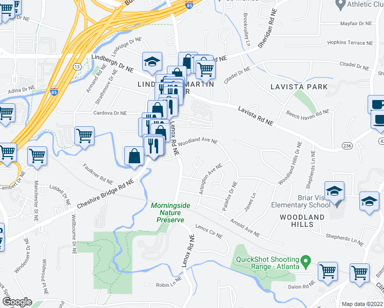 map of restaurants, bars, coffee shops, grocery stores, and more near 1135 Woodland Avenue Northeast in Atlanta
