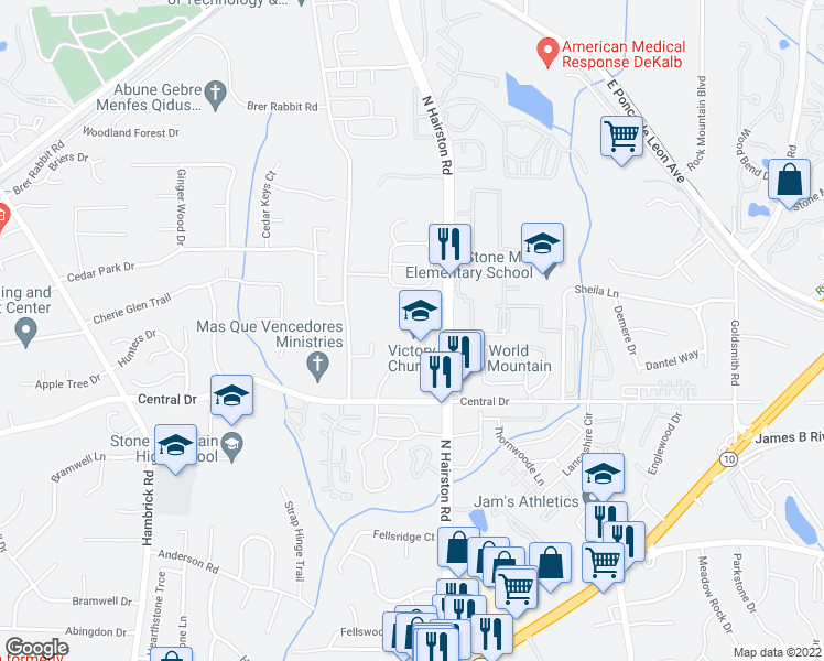 map of restaurants, bars, coffee shops, grocery stores, and more near 1259 Old Countryside Circle in Stone Mountain