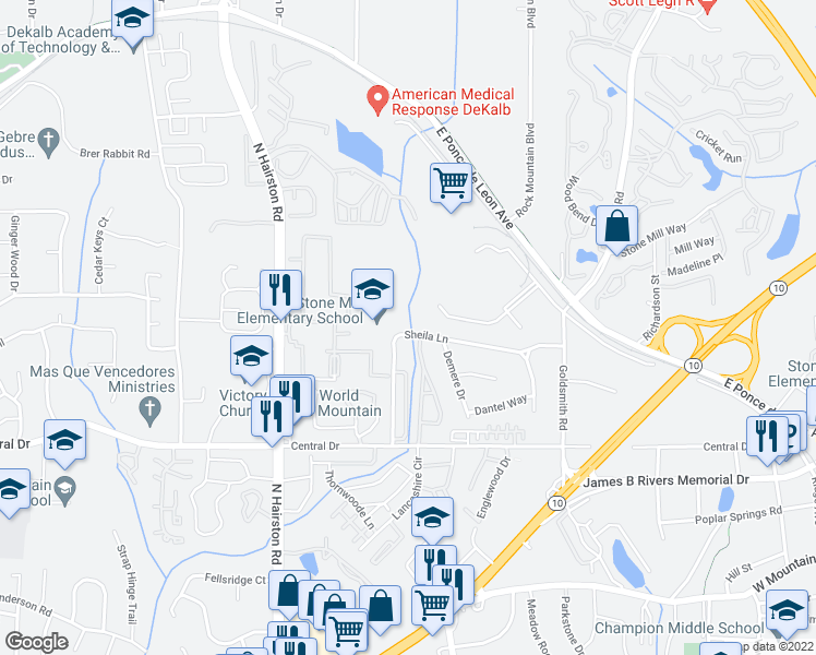 map of restaurants, bars, coffee shops, grocery stores, and more near 4900 Sheila Lane in Stone Mountain