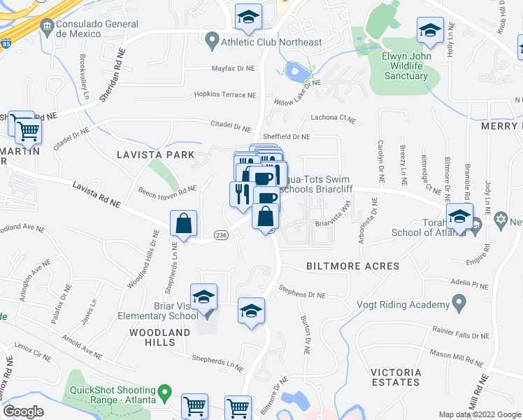 map of restaurants, bars, coffee shops, grocery stores, and more near Lavista Rd NE & Briarcliff Rd NE in North Druid Hills