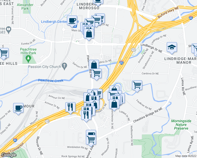 map of restaurants, bars, coffee shops, grocery stores, and more near 10 Lakeshore Drive Northeast in Atlanta