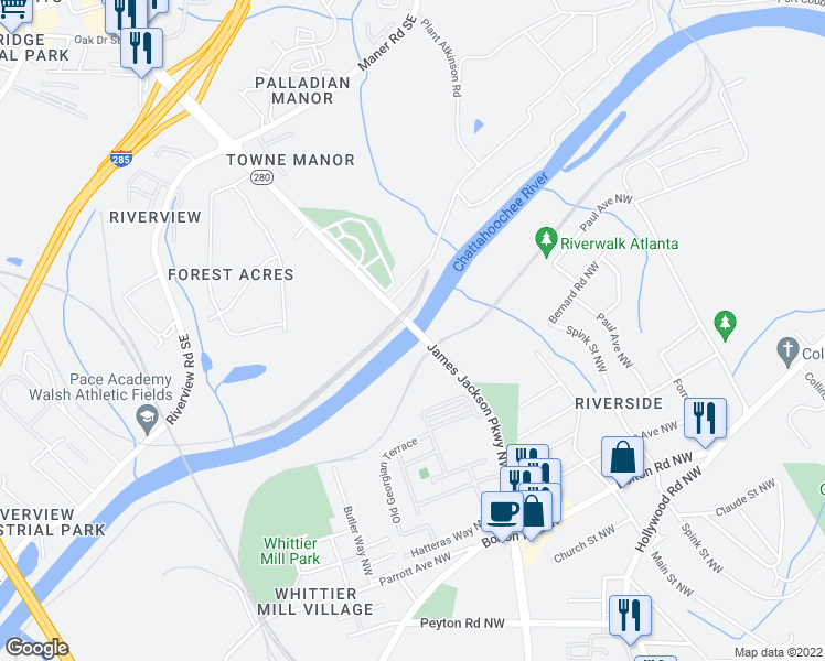 map of restaurants, bars, coffee shops, grocery stores, and more near Highway 280 in Atlanta