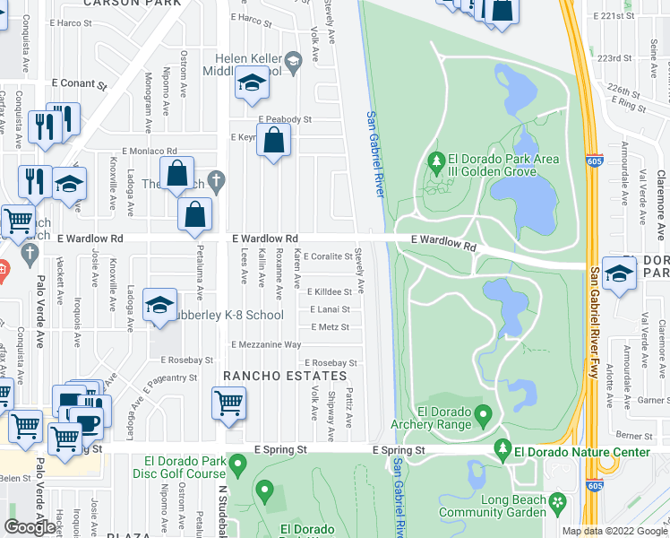 map of restaurants, bars, coffee shops, grocery stores, and more near 7203 East Premium Street in Long Beach