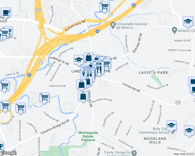map of restaurants, bars, coffee shops, grocery stores, and more near 1155 Lavista Road Northeast in Atlanta