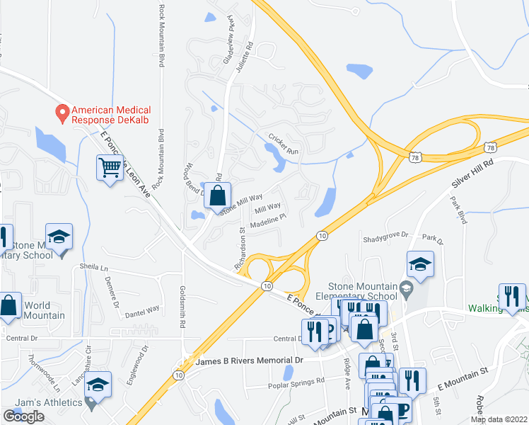 map of restaurants, bars, coffee shops, grocery stores, and more near 5235 Mill Way in Stone Mountain