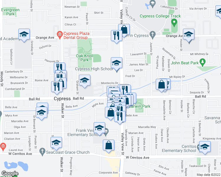 map of restaurants, bars, coffee shops, grocery stores, and more near 9933 Pacifico Way in Cypress