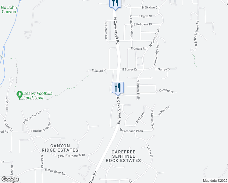 map of restaurants, bars, coffee shops, grocery stores, and more near 36600 North Cave Creek Road in Cave Creek