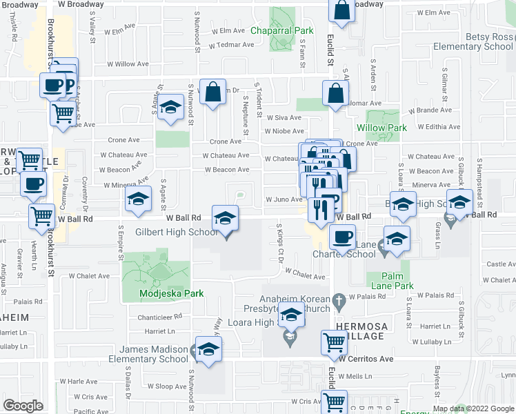 map of restaurants, bars, coffee shops, grocery stores, and more near 941 South Trident Street in Anaheim