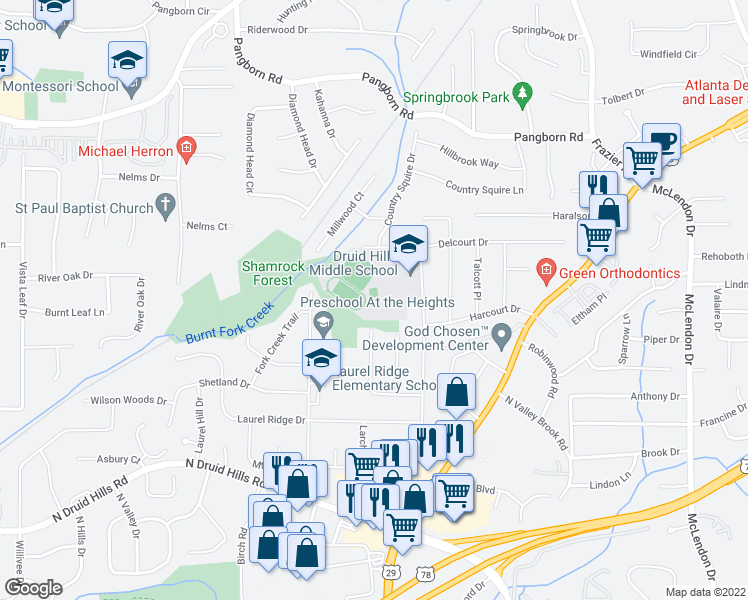 map of restaurants, bars, coffee shops, grocery stores, and more near 3100 Mount Olive Drive in Decatur