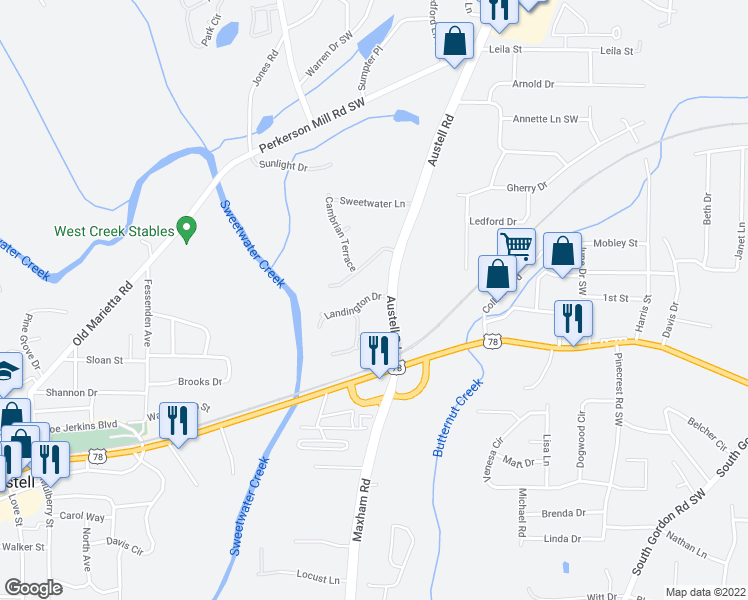 map of restaurants, bars, coffee shops, grocery stores, and more near 3045 Landington Drive in Austell
