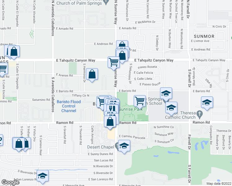 map of restaurants, bars, coffee shops, grocery stores, and more near 300 South Sunrise Way in Palm Springs