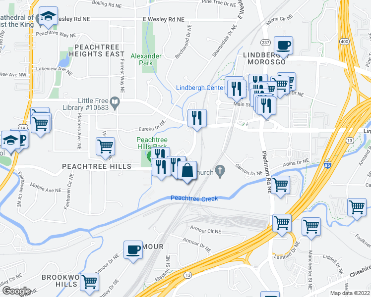 map of restaurants, bars, coffee shops, grocery stores, and more near 480 Peachtree Hills Avenue Northeast in Atlanta