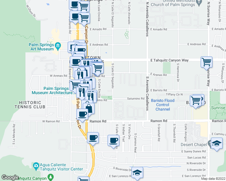 map of restaurants, bars, coffee shops, grocery stores, and more near 302 South Calle Encilia in Palm Springs