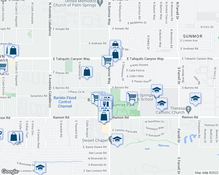 map of restaurants, bars, coffee shops, grocery stores, and more near South Sunrise Way & East Baristo Road in Palm Springs