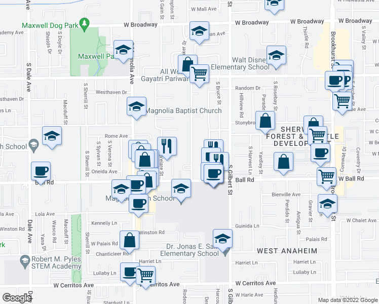 map of restaurants, bars, coffee shops, grocery stores, and more near 905 Webster Avenue in Anaheim