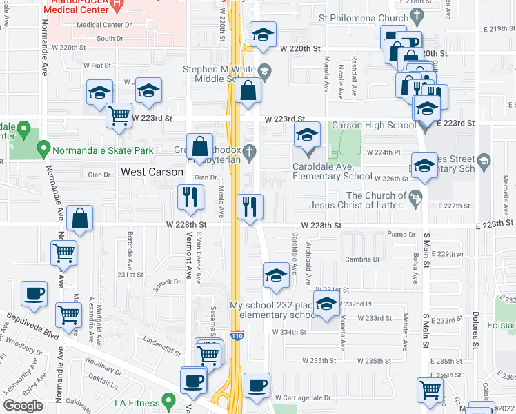 map of restaurants, bars, coffee shops, grocery stores, and more near 22618 South Figueroa Street in Carson