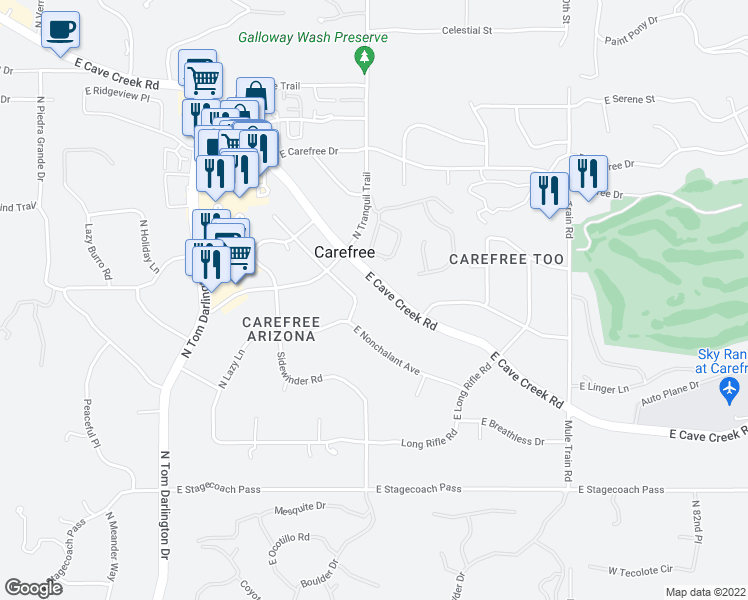 map of restaurants, bars, coffee shops, grocery stores, and more near 7601 East Cave Creek Road in Carefree