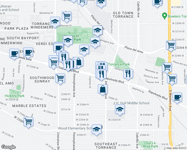 map of restaurants, bars, coffee shops, grocery stores, and more near 2255 Sepulveda Boulevard in Torrance