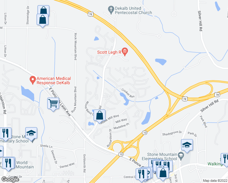 map of restaurants, bars, coffee shops, grocery stores, and more near 5606 Tree Mountain Parkway in Stone Mountain