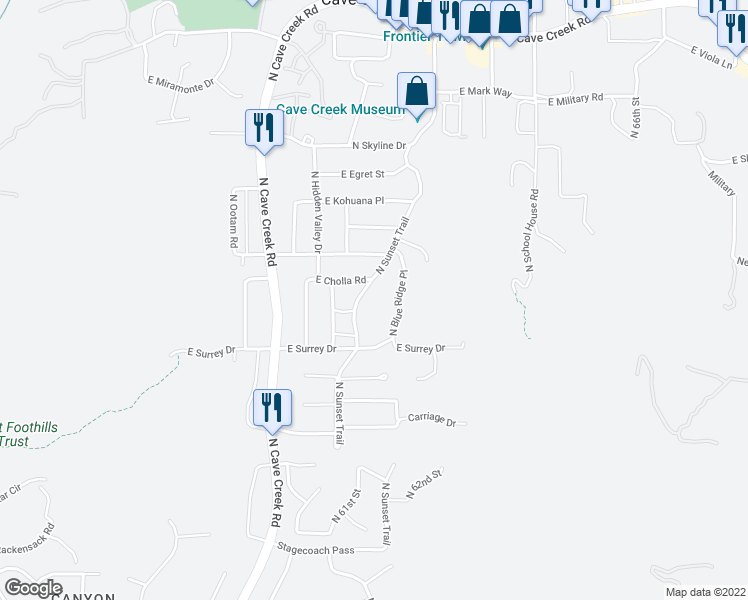 map of restaurants, bars, coffee shops, grocery stores, and more near 37219 North Sunset Trail in Cave Creek