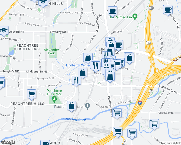 map of restaurants, bars, coffee shops, grocery stores, and more near 500 Lindbergh Drive Northeast in Atlanta
