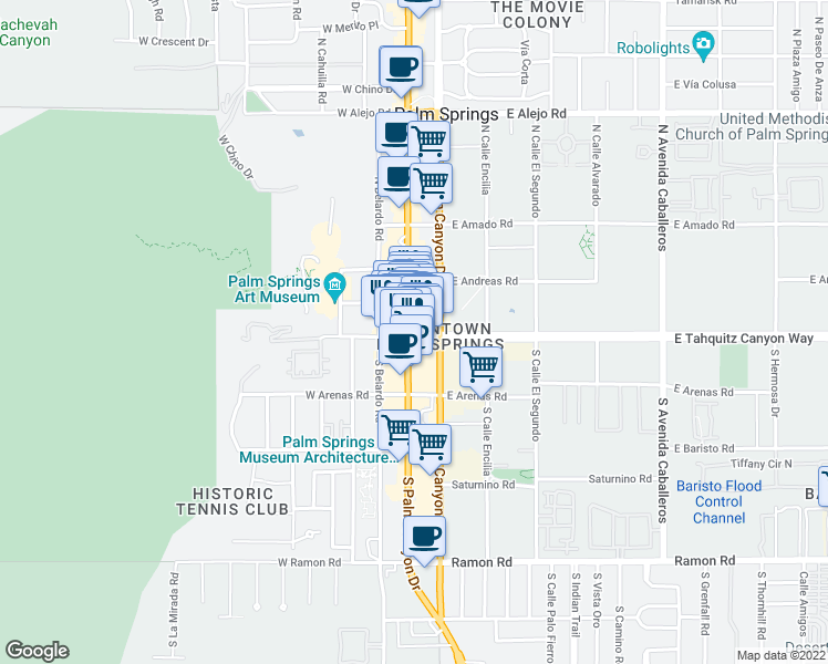 map of restaurants, bars, coffee shops, grocery stores, and more near 100 North Palm Canyon Drive in Palm Springs